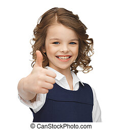 pre-teen girl showing thumbs up - happy children and...