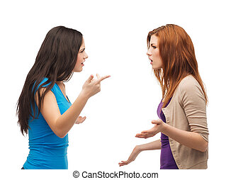 two teenagers having a fight - bullying, friendship and...