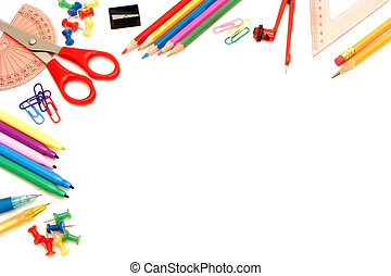 School supplies border - Colorful border of an assortment of...