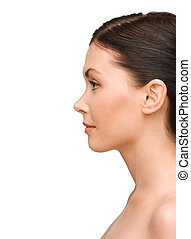 profile portrait of young woman - beauty and health concept...