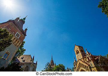 Vajdahunyad Castle - The Vajdahunyad Castle in the city park...