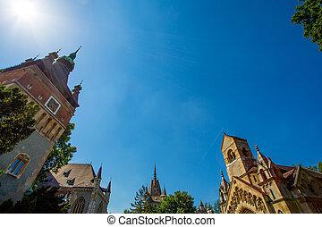 Vajdahunyad Castle - The Vajdahunyad Castle in the city park...