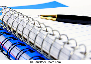 Taking notes - Close up of a pen resting on a lined, coil...