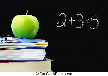 Learning - Addition equation written on a blackboard with...