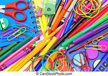 School supplies background - Full background of a colorful...