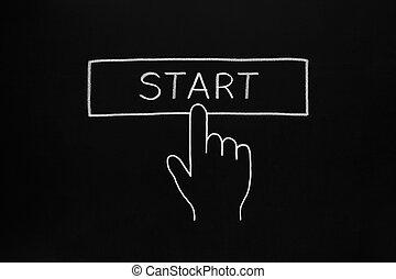 Hand Clicking Start Button - Hand clicking Start button...