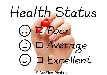 Poor Health Status Survey - Hand putting check mark with red...