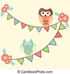 Cute owls hanging in flags - Vector birthday party card with...