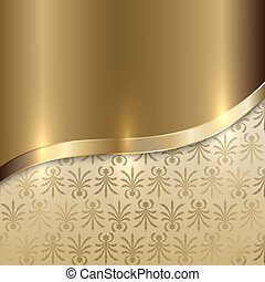Vector gold texture background with curve line and floral...