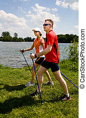 nordic walking - Nordic walking tour in summer