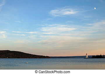 Baddeck Nova Scotia - View of lake Bras d'or and lighthouse...
