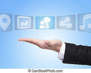 Social media concept , business man hand palm holding all...