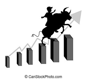 Stock market bull - Businessman riding a bull climbs up a...