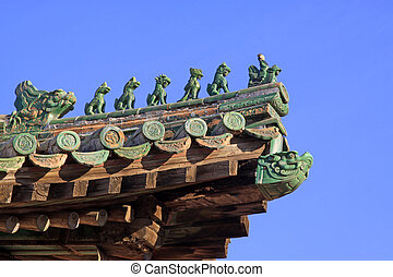 eaves ridge beast Chinese traditional style landscape...