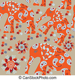 Elephant seamless pattern with flower and seamless pattern...