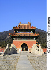 ancient Chinese traditional style of buildings landscape, in the