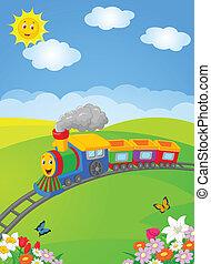 Happy cartoon locomotive - Vector illustration of Happy...