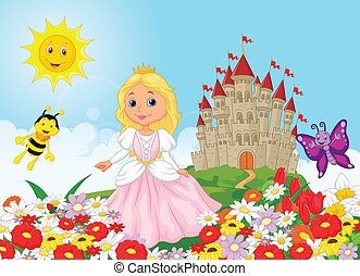 Cute cartoon princess in the floral - Vector illustration of...