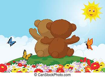 Two teddy bears cartoon sitting in