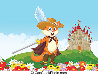 Cartoon Puss in boots with castle b - Vector illustration of...