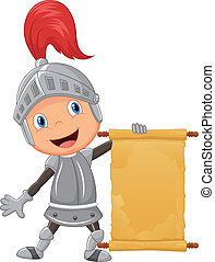 Cartoon knight boy holding  blank a