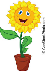 Sunflower cartoon - Vector illustration of Sunflower cartoon