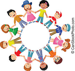 Circle of happy children cartoon d - Vector illustration of...