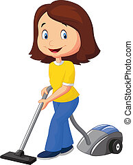 Mom cartoon with vacuum cleaner - Vector illustration of Mom...