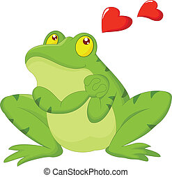 Frog cartoon in love - Vector illustration of Frog cartoon...