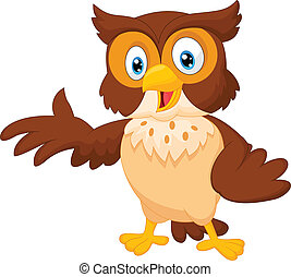 Cute owl cartoon waving - Vector illustration of Cute owl...