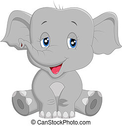 Cute baby elephant cartoon - Vector illustration of Cute...