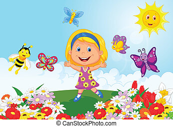 Happy little girl cartoon running o - Vector illustration of...