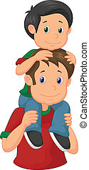 Cartoon Father giving his son piggy - Vector illustration of...