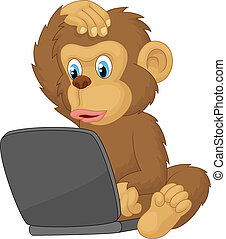 Cartoon monkey operating laptop - Vector illustration of...