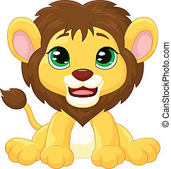 Cute lion cartoon - Vector illustration of Cute lion cartoon...