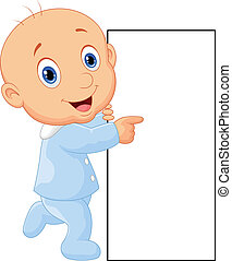 Cartoon baby boy with blank sign
