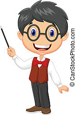Cartoon boy teaching - Vector illustration of Cartoon boy...