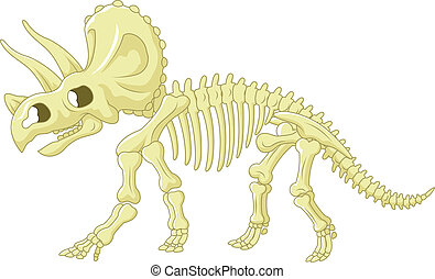 Cartoon Triceratops skeleton - Vector illustration of...