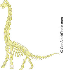 Cartoon Sauropod skeleton - Vector illustration of Cartoon...