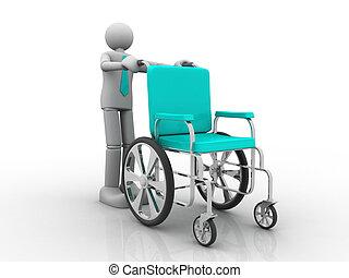 man holding a wheelchair
