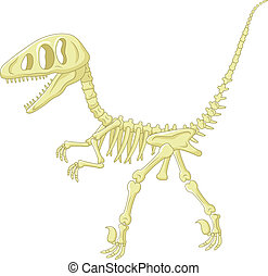 Cartoon Dinosaur skeleton - Vector illustration of Cartoon...