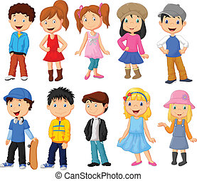 Cute children cartoon collection - Vector illustration of...