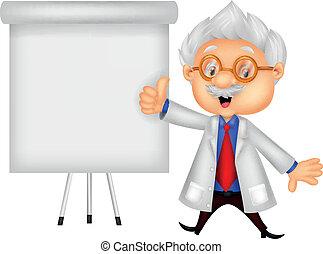 Professor cartoon teaching - Vector illustration of...