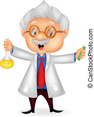 Cartoon scientist holding chemical