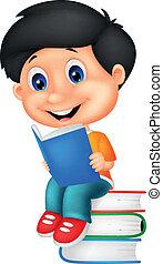Little boy cartoon reading book