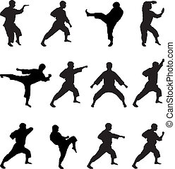 Silhouettes of positions of the karateka. - Set of black...