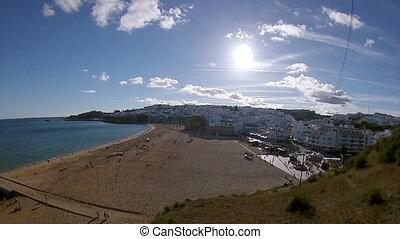 Pan timelapse Albufeira fishermen beach, Algarve, Portugal
