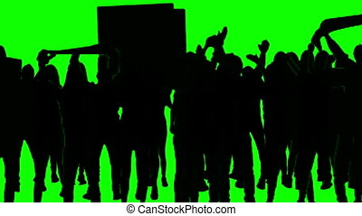 Football fans on green screen. - Real people, 4 rows, tonal...