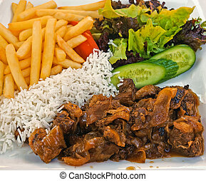 Cypriot cuisine - meat with vegetables stiffado