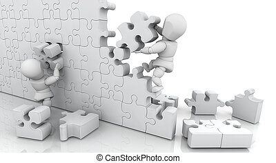 Solving jigsaw puzzle - 3D render of men solving a jigsaw...